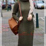 kışlık örme elbise kombini