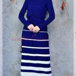 mavi çizgili triko elbise modeli