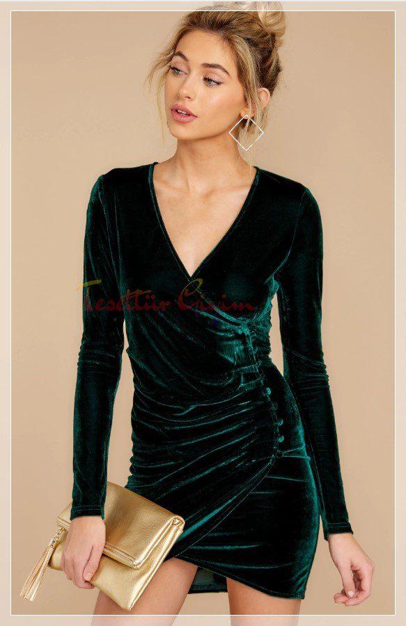 şık Yeşil Kadife Elbise Modelleri
