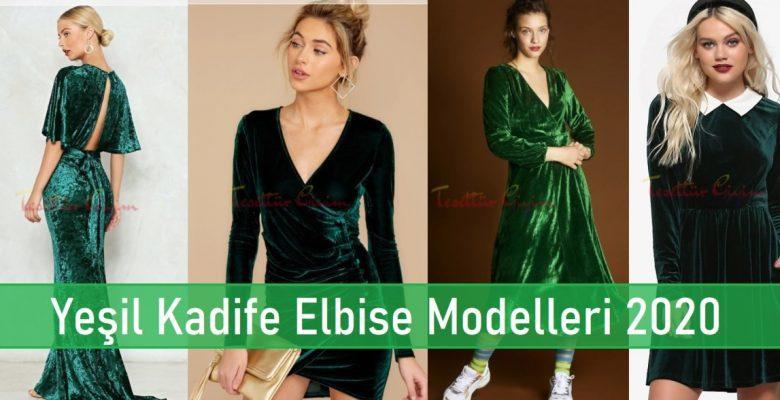 Yeşil Kadife Elbise Modelleri