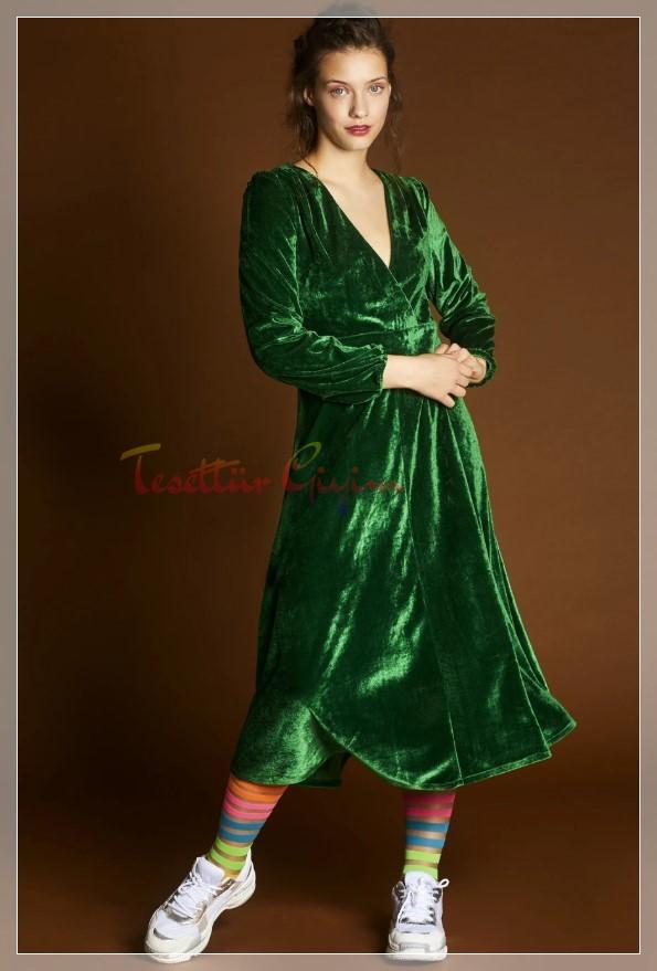 açık yeşil Yeşil Kadife Elbise Modeli
