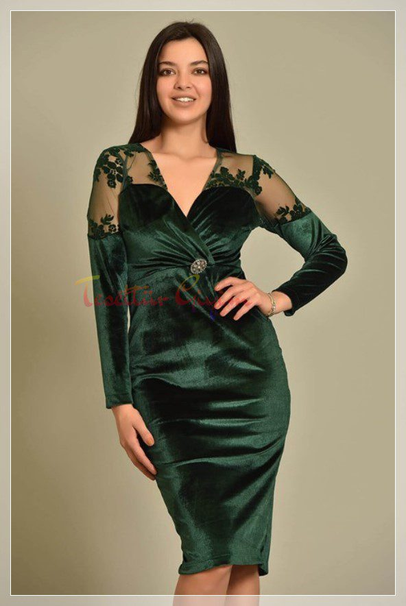 big sizeGreen Velvet Dress