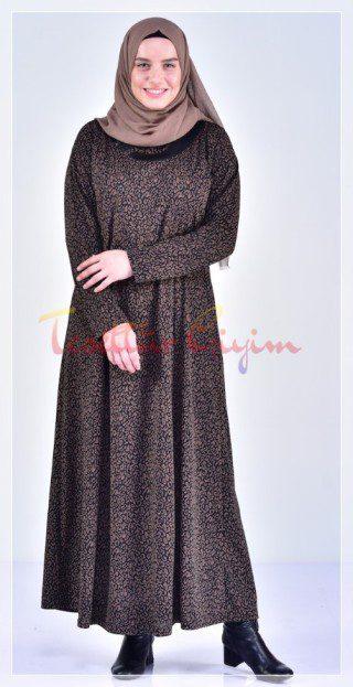 desenli Büyük Beden Tesettür Elbise