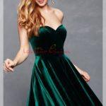fırfırlı Yeşil Kadife Elbise Modeli