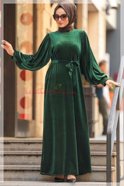 hijab Green Velvet Dress