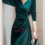 japon Green Velvet Dress