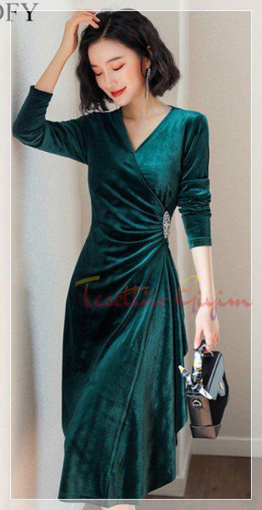 japon Green Velvet Dress