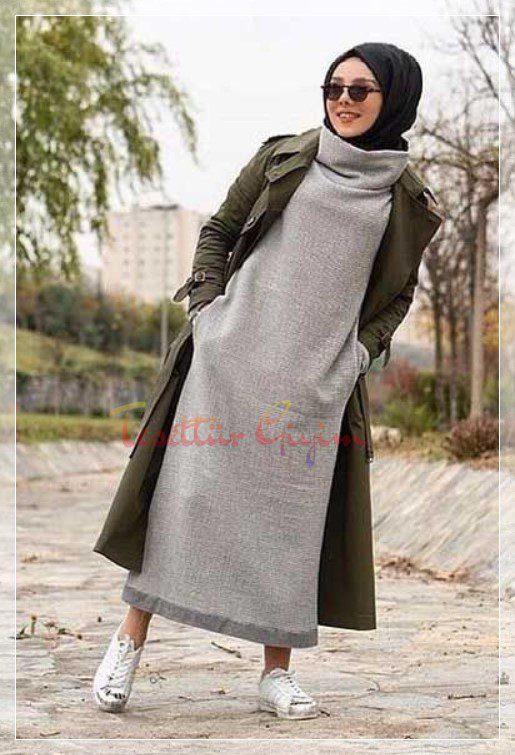 kışlık tesettür boğazlı elbise