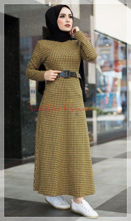 kışlık tesettür elbise modeli