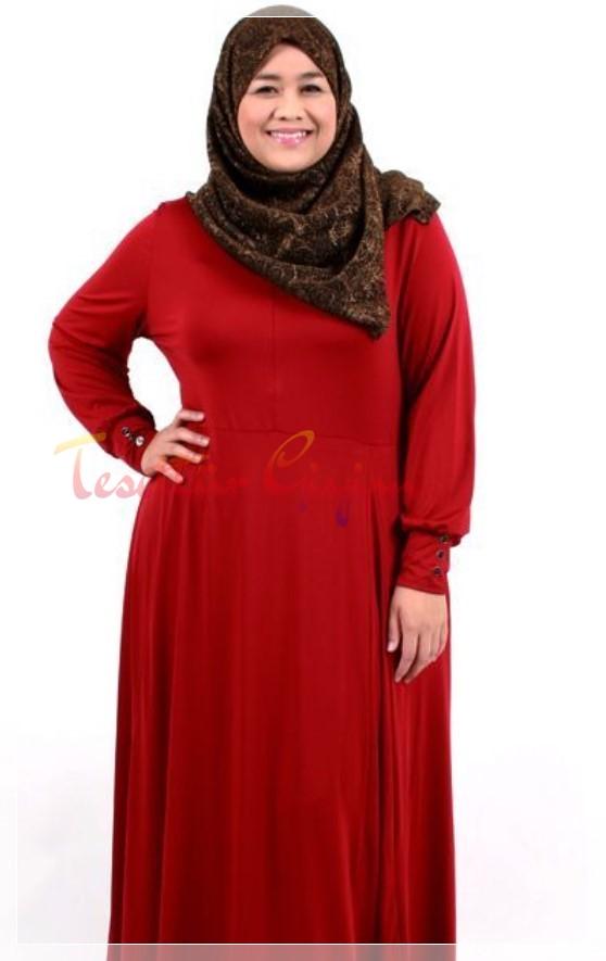 kırmızı Büyük Beden Tesettür Elbise Modelleri