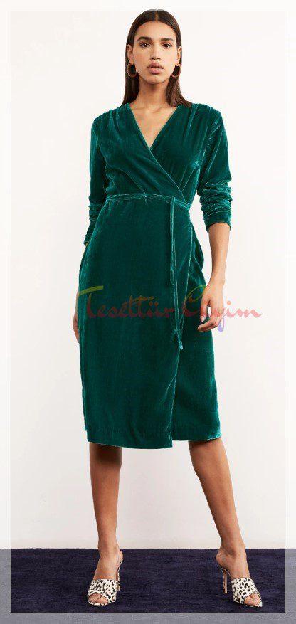kuşaklı Yeşil Kadife Elbise Modeli