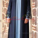 mavi lacivert Büyük Beden Tesettür Elbise