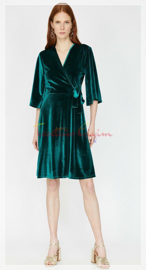mini Green Velvet Dress