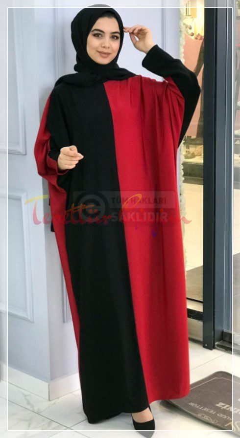 siyah kırmızı Büyük Beden Tesettür Elbise