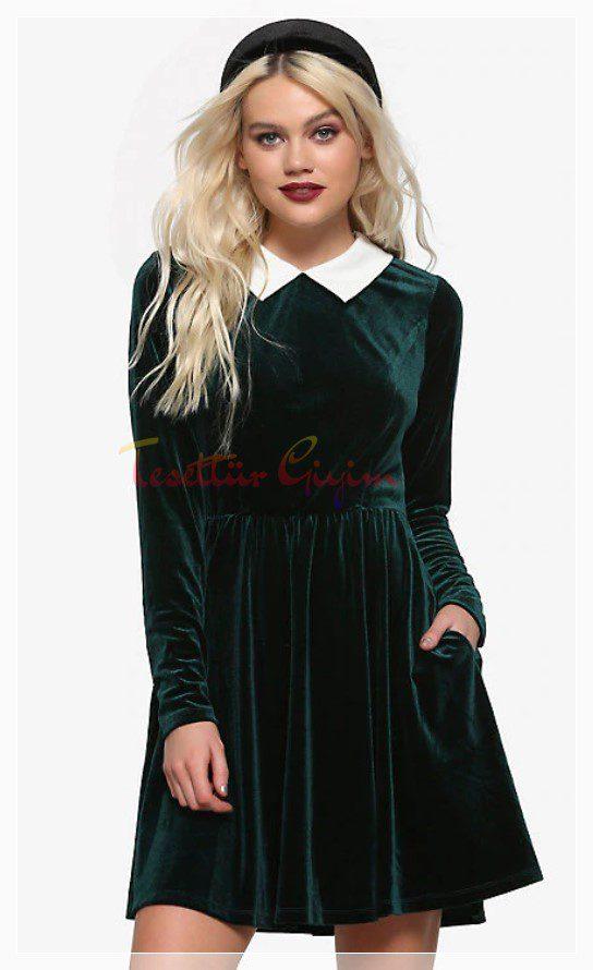 yakalı Yeşil Kadife Elbise Modeli