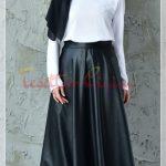 Siyah beyaz tesettür deri elbise