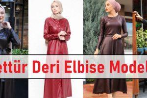 Tesettür Deri Elbise Modelleri