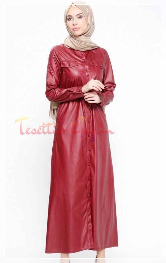 kırmızı Tesettür Deri Elbise Modelleri