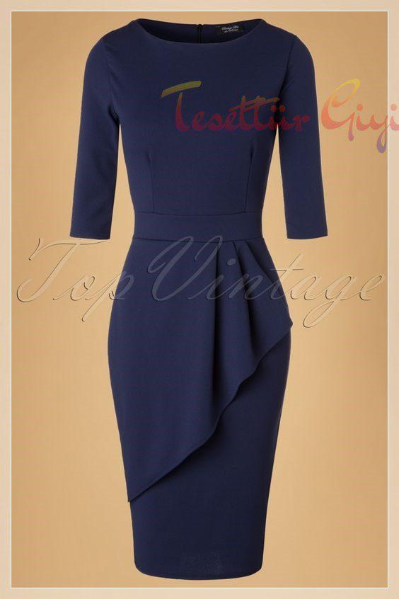 lacivert Peplum Elbise Modeli
