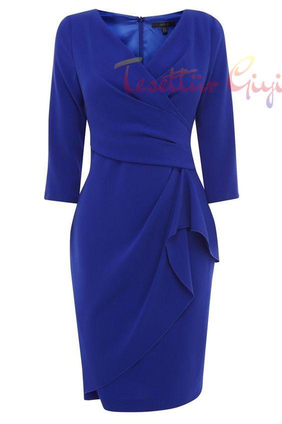 mavi Peplum Elbise Modeli