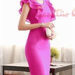 pembe Peplum Elbise Modeli