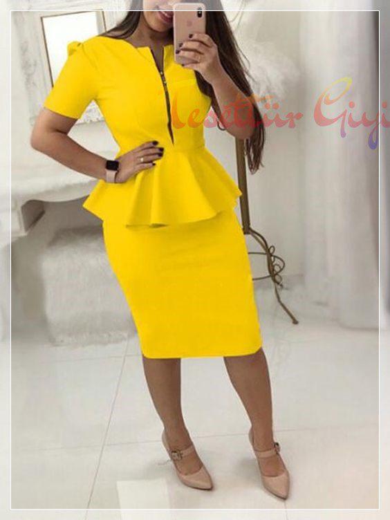 sarı Peplum Elbise Modelleri