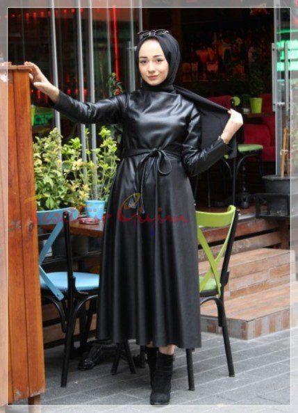 siyah Tesettür Deri Elbise Modelleri