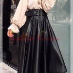 siyah bol tesettür deri etek elbise