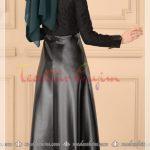 siyah etekli tesettür deri elbise