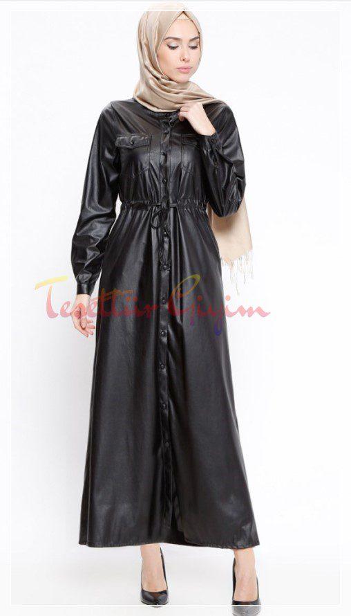 siyah tesettür deri elbise modeli