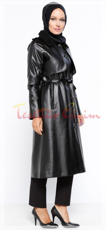 Siyah kırmızı tesettür deri elbise modeli