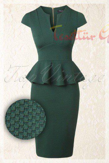 yeşil Peplum Elbise Modelleri