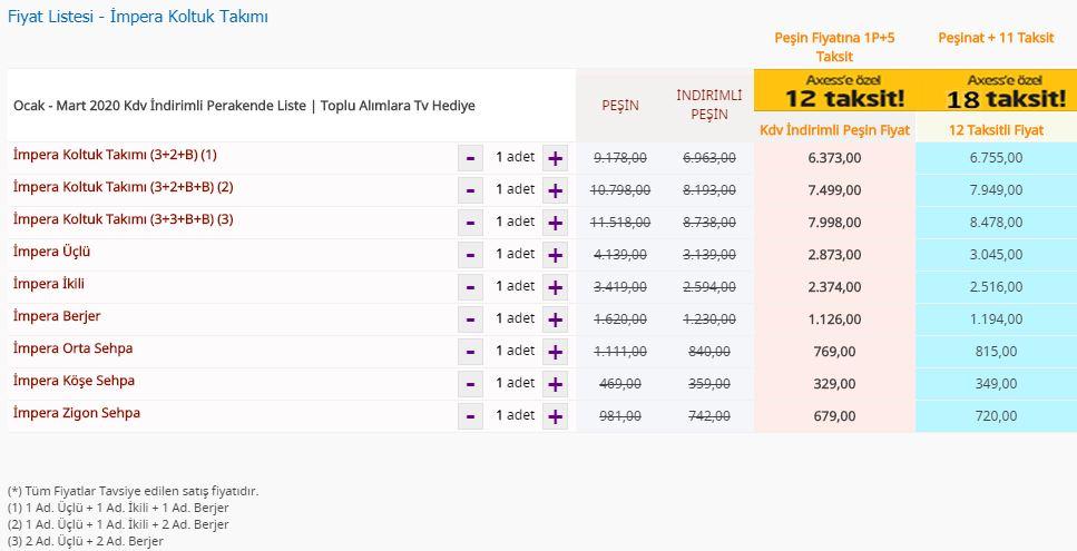 Bellona İmpera Koltuk Takımı fiyat listesi