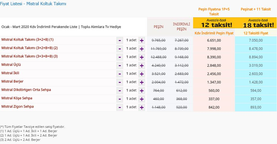 Bellona Mistral Koltuk Takımı Fiyat Listesi