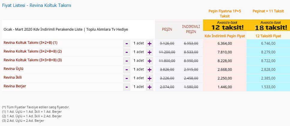 Bellona Revina Koltuk Takımı fiyat listesi