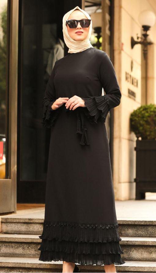 Tesettür siyah elbise ile hangi şal