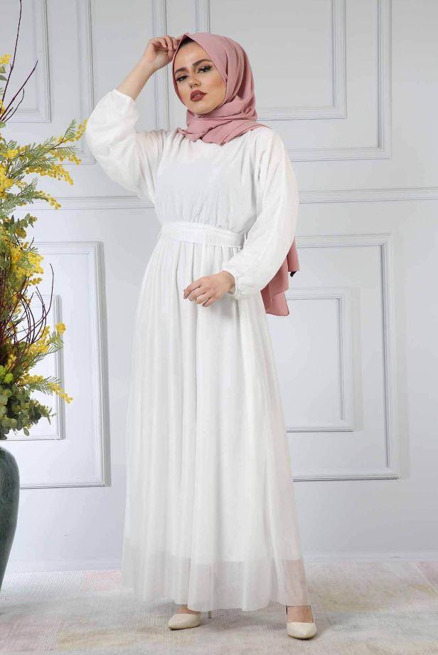 Eflatun Şal Beyaz Elbise Kombini