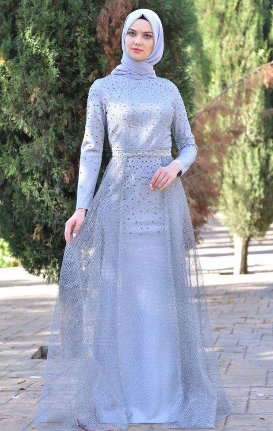 Gümüş lamine taşlı tesettür elbise