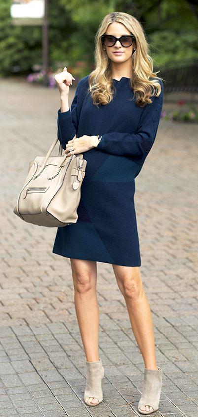 Lacivert elbise nubuk ayakkabı kombini