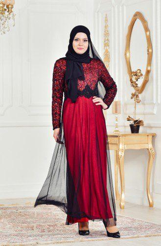 Payetli Abiye Elbise kırmızı siyah elbise modanisa