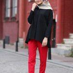Tesettür Kırmızı Pantalon Kombin