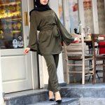 Tesettür Kuşaklı Haki Yeşil Elbise