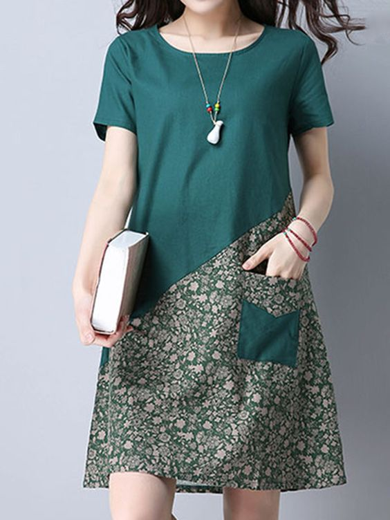 Yeni Sezon Günlük yeşil Elbise Modeli
