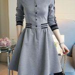 Yeni Sezon gri Günlük Elbise Modeli