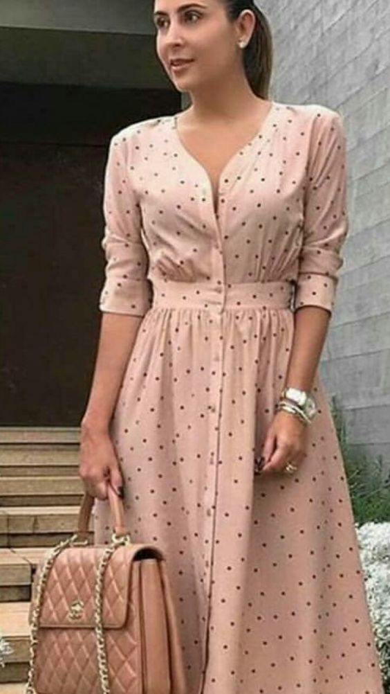 Yeni Sezon puntolu Günlük Elbise Modeli
