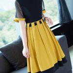 Yeni Sezon sarı siyah Günlük Elbise Modeli