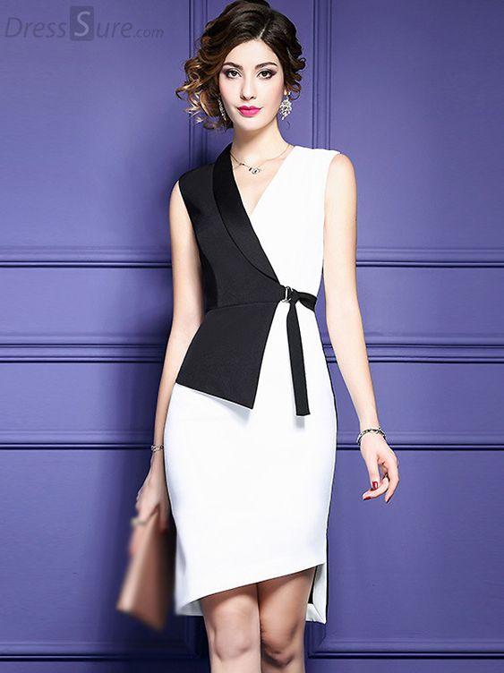 Yeni Sezon siyah beyaz Günlük Elbise Modeli