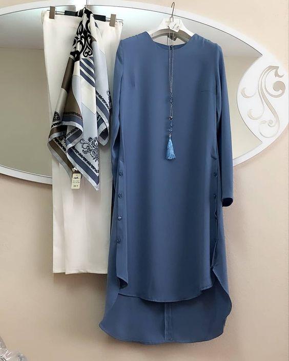 açık mavi ince kumaş tunik modeli
