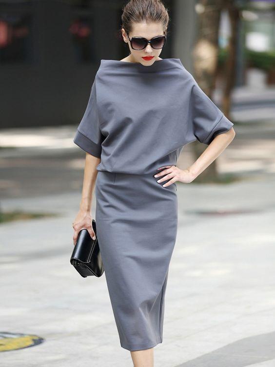 gri günlük elbise modeli