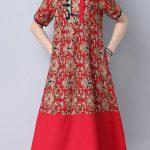 kırmızı günlük elbise modeli